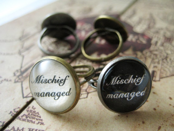 Mischief managed ring (bronze or silver)