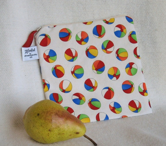 "Beach Ball Sandwich Sack, Snack Sack - 7.5"" x 7.5""- Nylon lined, Zippered, Reusable, Washable"
