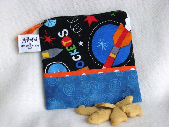 """Snack Sack / Pacifier Pouch / Crayon Bag, Mini Sized - 5"""" x 5""""- Zippered, Nylon lined, Reusable, Machine Washable"""