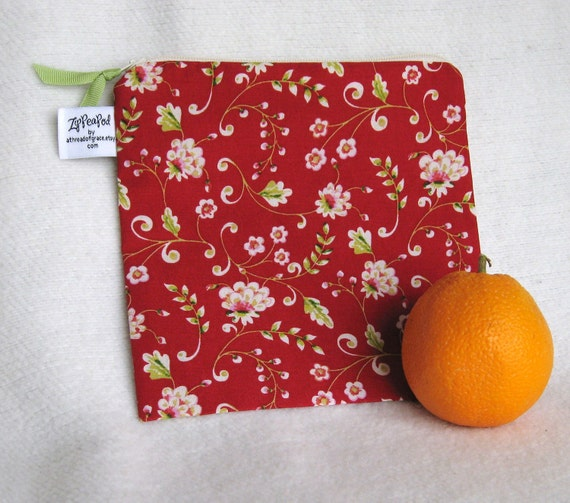 "Zippered Lunch Sack / Reusable Sandwich Bag, Project Bag - 7.5"" x 7.5""- Nylon lined,  Machine Washable"