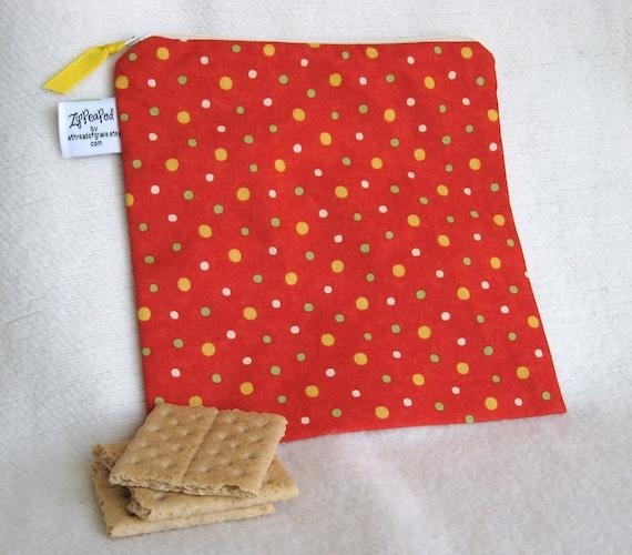 "Orange Polka Dot Kid's Snack Sack, Sandwich Sack, Lunch Sack, Project Bag - 7.5"" x 7.5""- Nylon lined, Reusable, Machine Washable"