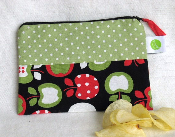"""Back to School Eco-Friendly Snack Sack, Half Size - 7.5"""" x 5""""- Nylon lined, Reusable, Zippered,  Machine Washable, Reusable"""
