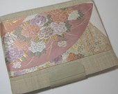 Ipad Sleeve with Pink Fan Obi Brocade and Leather Trim