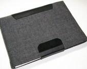 Black Tweed Ipad Sleeve with Leather Trim