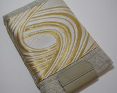 Gold Swirl Sleeve for Kindle or Nook with Leather Trim