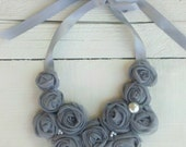 Gray Bib Necklace Chiffon and Pearls