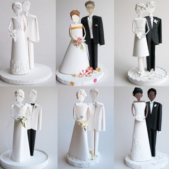 Custom Wedding Cake Topper - Paper Sculpture