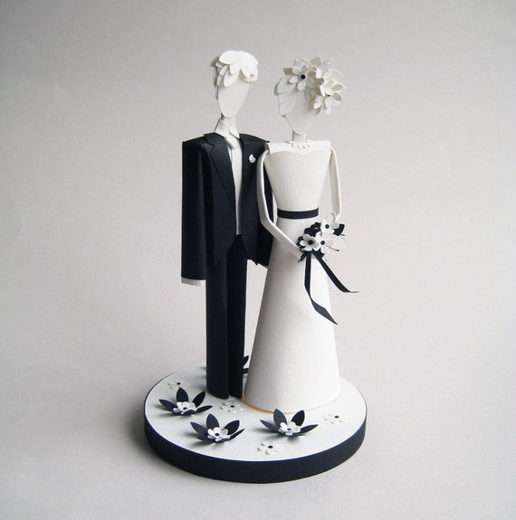 Wedding Cake Topper - Paper Sculpture - Black and White