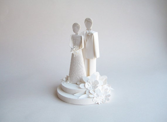 Paper Wedding Cake Topper - Bride and Groom - White