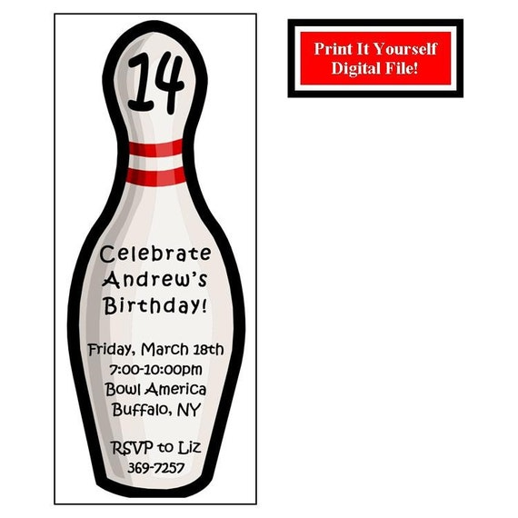 Bowling Pin Custom Birthday Party Invitation Digital File