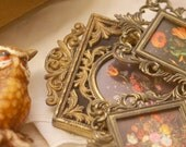 3 vintage petite frames and vintage wooden cherub box made in Italy