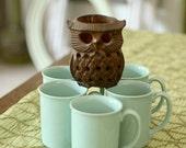coffee cups set of 5 vintage aqua blue mugs