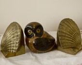 brass shell bookends vintage brass seashell bookends