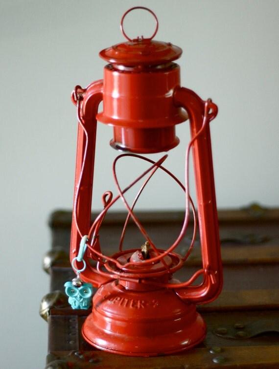 vintage red metal lantern