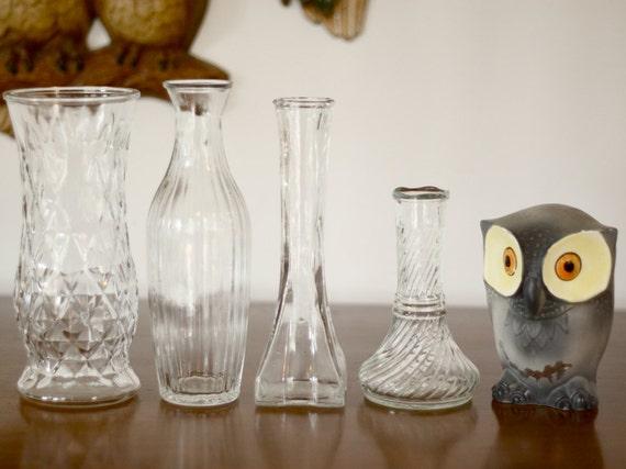 vintage glass vase set of 4