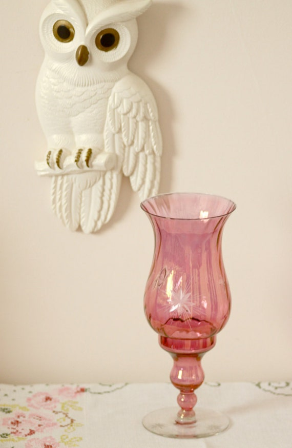 pink glass hurricane candle holder
