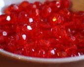 30 pieces of light siam ruby 6 mm fire polished czech crystal beads (CZ06-83)