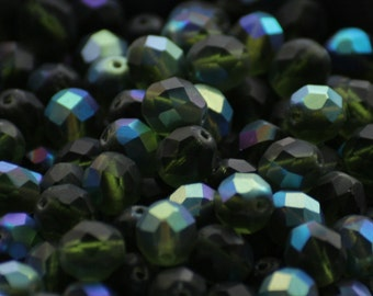 10 pieces of matte olivine AB 8 mm fire polished czech crystal beads (CZ08-04)