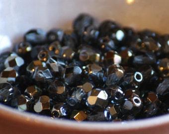 30 pieces of bronze iris montana blue 6 mm fire polished czech crystal beads (CZ06-65)