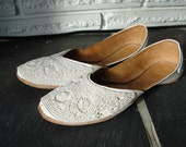 Handstitched  White Beaded Shoes Leather and beads