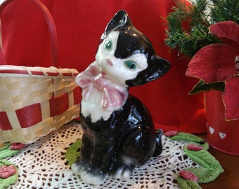 1950's Black and White China Cat with Sapphire eyes and PINK BOW