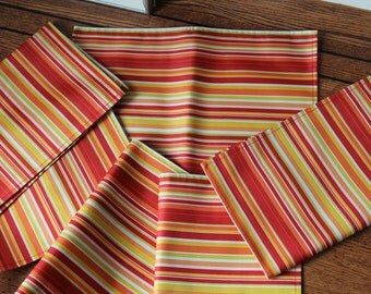 Set of 6 Southwest Fiesta Fabric or Scandinavian style Mid Century Decor with Vinyl Backing Retro Placemats