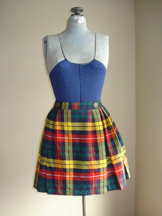 Buchanan TARTAN  Wrap Pleated mini Kilt skirt  sz small