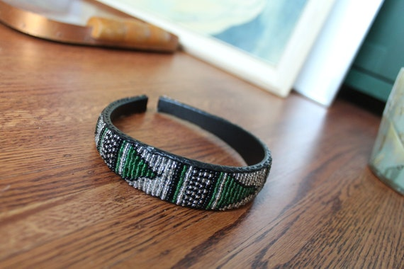 Native First Nations Beaded Handmade Leather Hairband
