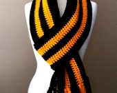 varsity scarf in black and yellow gold