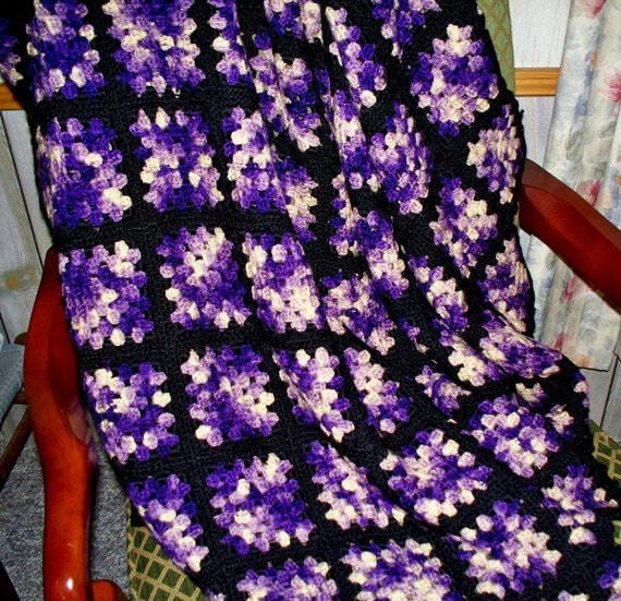 Vintage Crocheted Wool Granny Square Afghan Picnic Blanket in Purple and Black make into a Hippie Skirt or Jacket