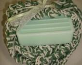 Goat Milk Soap and 100 Percent Hand Knit Bath Cloth