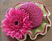 Crochet Baby Beanie - Raspberry Ruffle SALE