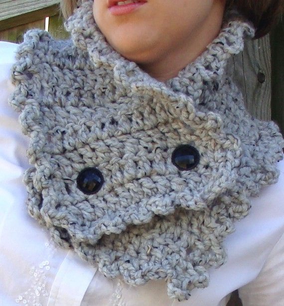 ON SALE Grey Scarf Warmer - Reversible Button