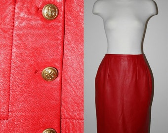 Vintage 80s Red Leather Skirt