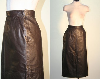 High Waisted Vintage Brown Leather Midi Pencil Skirt with Pockets