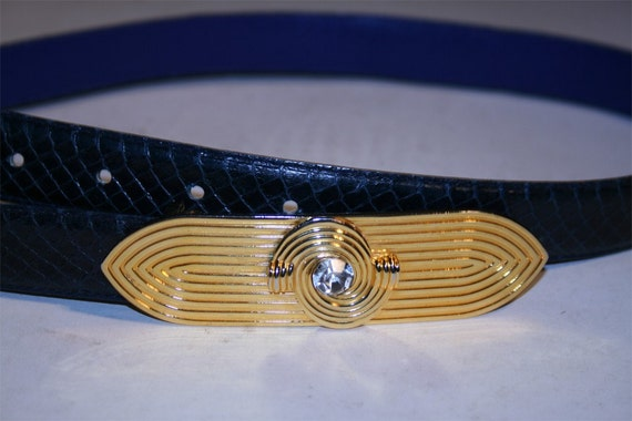 Vintage Blue Snakeskin Belt with Art Deco Style Buckle