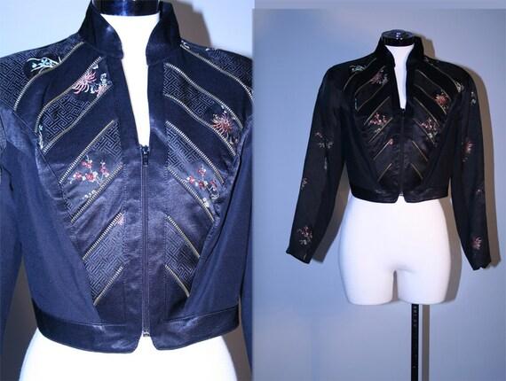 Vintage 80s Black Asian Print Cropped Bolero Jacket