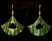 Green Marble Wedge Earrin...