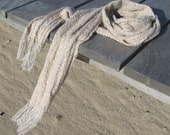 Neutral Artisan Woven Scarf in Sand & Sage Light Beige Green Seaside Beach Cottage Rustic Cabin Urban Unisex Mens Womens Fashion Accessory