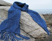 Ocean Blue Check Handwoven Scarf, Spring Fashion Winter Nautical Beach Cottage or Rusitc Farmhouse Cabin Style for Urban Men or Women