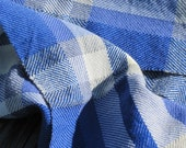 Blue Plaid Wool Scarf, Handwoven Seaside Plaid Wool Lightweight Mens Womens Cottage Cabin Beach Woodland Urban Fashion, Gift for Guy or Dad