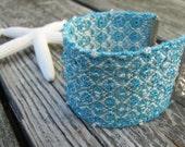 Beach Cottage Chic Bracelet, Handwoven Aqua Turquoise & Ivory Boho Tribal Fiber Art Fashion Textile Jewelry, Spring Summer Seaside Style