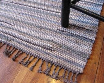 Modern Rustic Rag Rug, Country Home Decor Rug, Mountain Log Cabin Farmhouse Decor Rug, Artisan Hand Woven Stone Gray Brown Wool Rug, USA