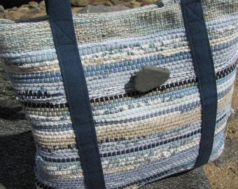 Small Blue Boho Chic Bag, Summer Womens Purse, Coastal Nautical Handbag, Sand & Sea Beach Cottage Shoulder Bag Recycled Rag Hand Woven Tote