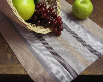 """Rustic Farmhouse Decor Brown Table Runner, Fall Harvest Decor Artisan Hand Woven French Country Cottage Mocha Caramel Stripe Cotton 30""""L"""