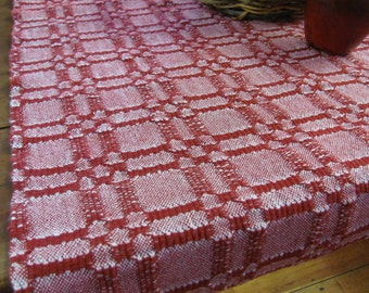 Rustic French Country Cottage Farmhouse Decor, Farm Cottage Runner, Barn Red Harvest Table Runner, Modern Rustic Cabin Decor, Artisan Woven