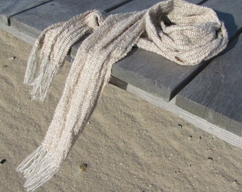 Sand & Sage Light Beige Green Scarf, Natural Style Wabi Sabi Mens Womens Scarf Rustic Accessory Clothing Gift, Autumn Fall Winter Fashion