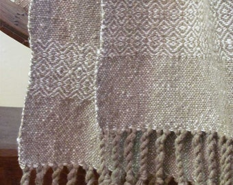 Rustic Mens Womens Natural Cream White Sandy Beige Scarf, Eco Friendly Rustic Country Scarf Urban Fashion Hand Woven Textured Cotton Scarf