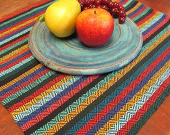 Fiesta Woven Napkin, Rustic Farmhouse Kitchen Picnic Bread Basket Serving Lunch Cloth, Tribal Diamond Stripe Southwest Mexican Dining Decor