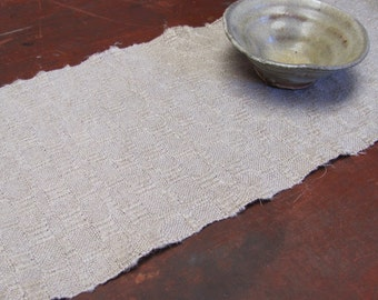 Simple Modern Rustic French Country Decor Hand Woven Linen Table Runner, Hygge Primitive Cabin Antique Farmhouse Home Decor, Natural Gray